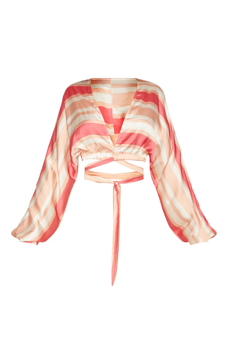 Peach Stripe Satin Tie Front Crop Blouse 3
