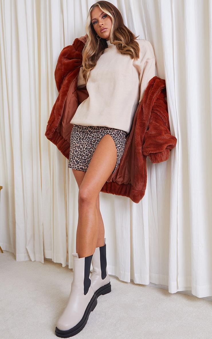 Brown Leopard Print Rib Split Front Mini Skirt 1