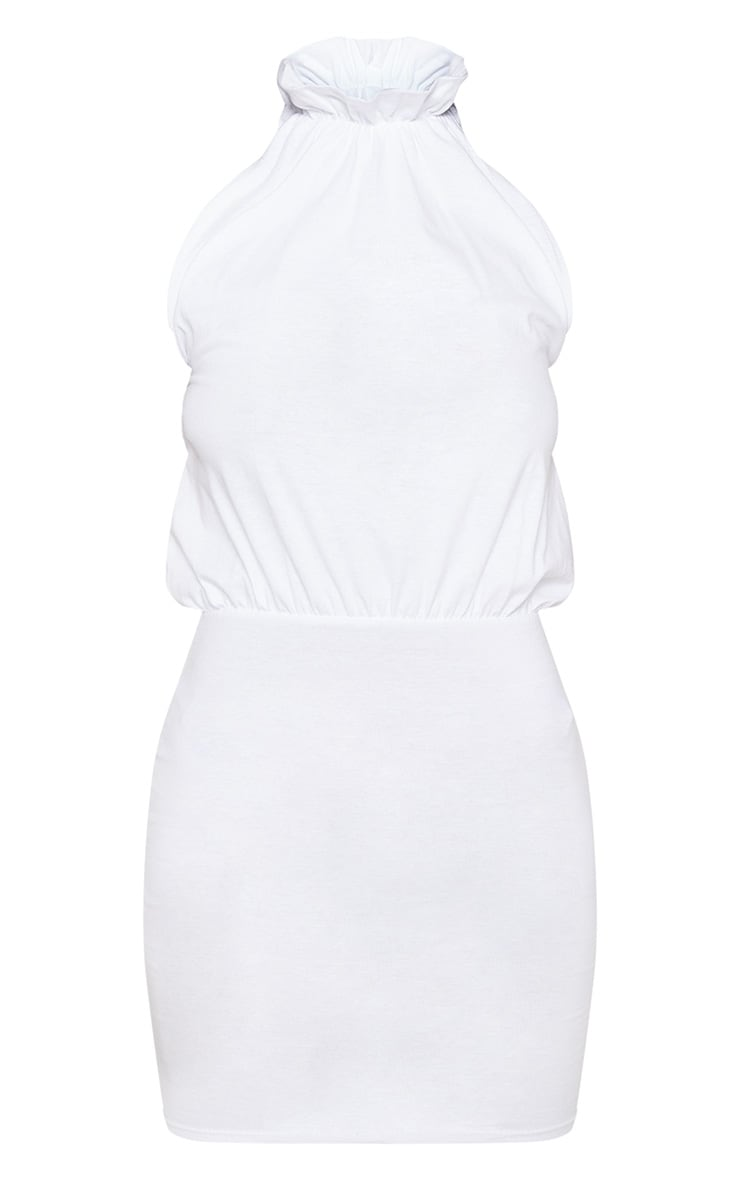 White Sleeveless High Neck Bodycon Dress 3