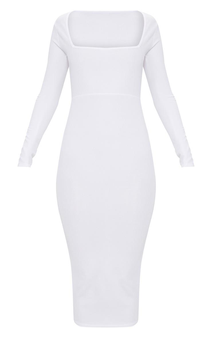 White Square Neck Long Sleeve Midaxi Dress 3