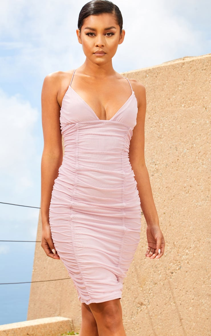 Lilac Second Skin Ruched Mesh Plunge Midi Dress