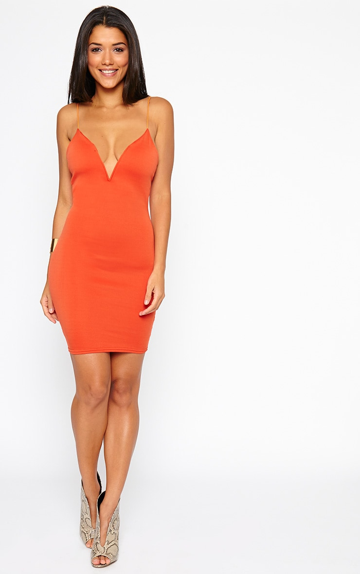 Marisole Orange Plunge Front V Bar Dress 3