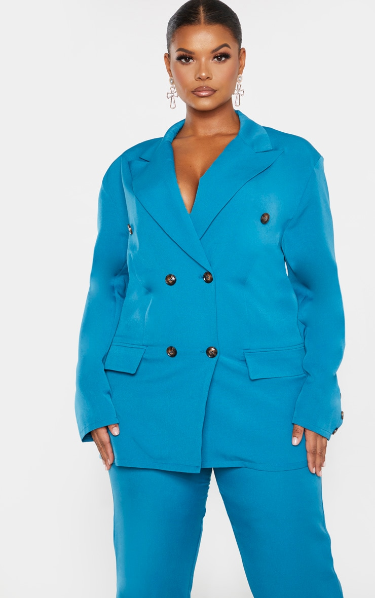 Plus Teal Woven Oversized Longline Button Detail Blazer 1