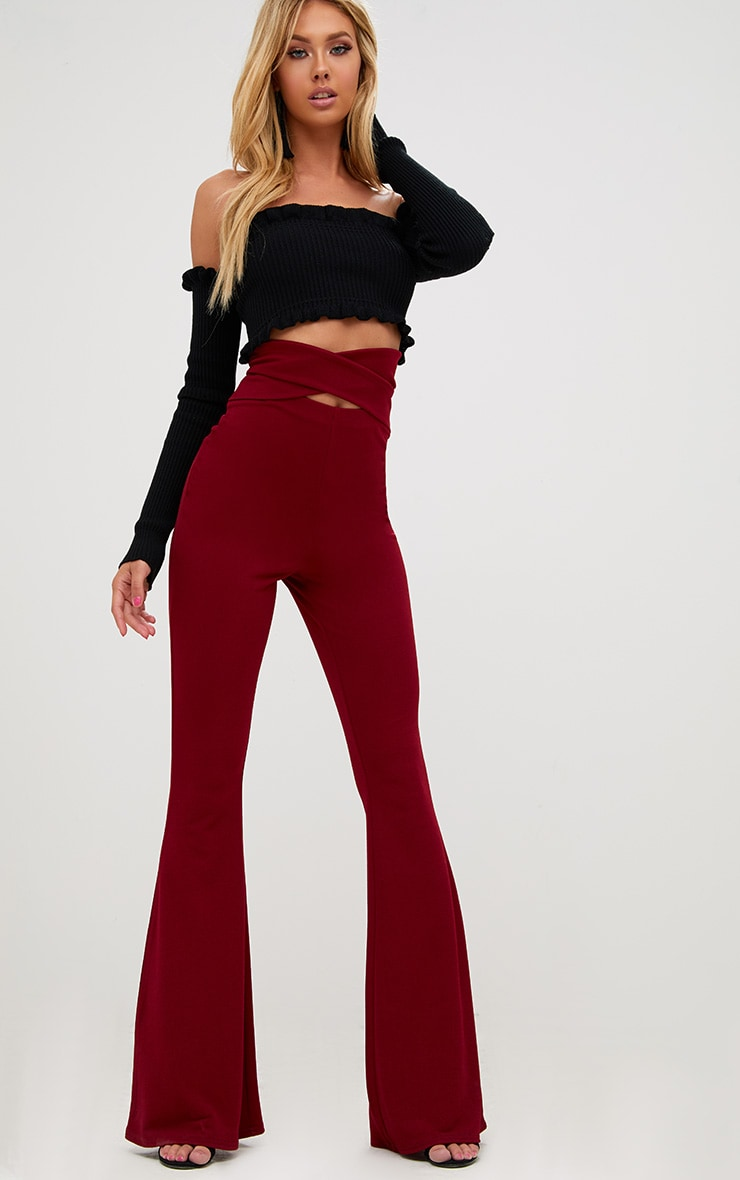 Burgundy Strappy Waist Flared Trousers 1
