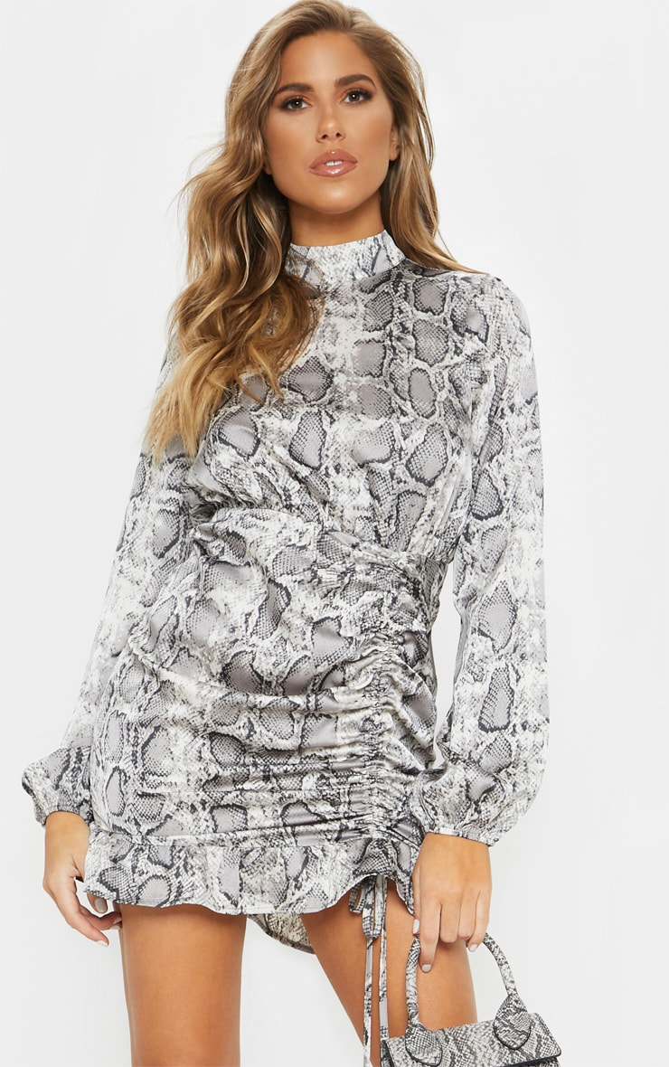 Grey Snake Print Satin High Neck Ruched Bodycon Dress 1