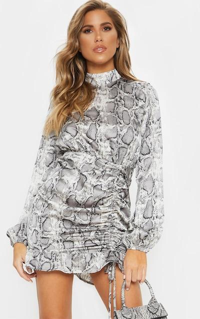 79ffd675e61 Grey Snake Print Satin High Neck Ruched Bodycon Dress