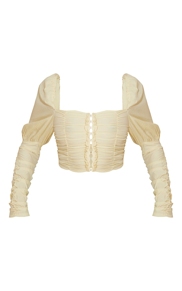 Lemon Woven Multi Ruched Hook And Eye Puff Sleeve Crop Top 5