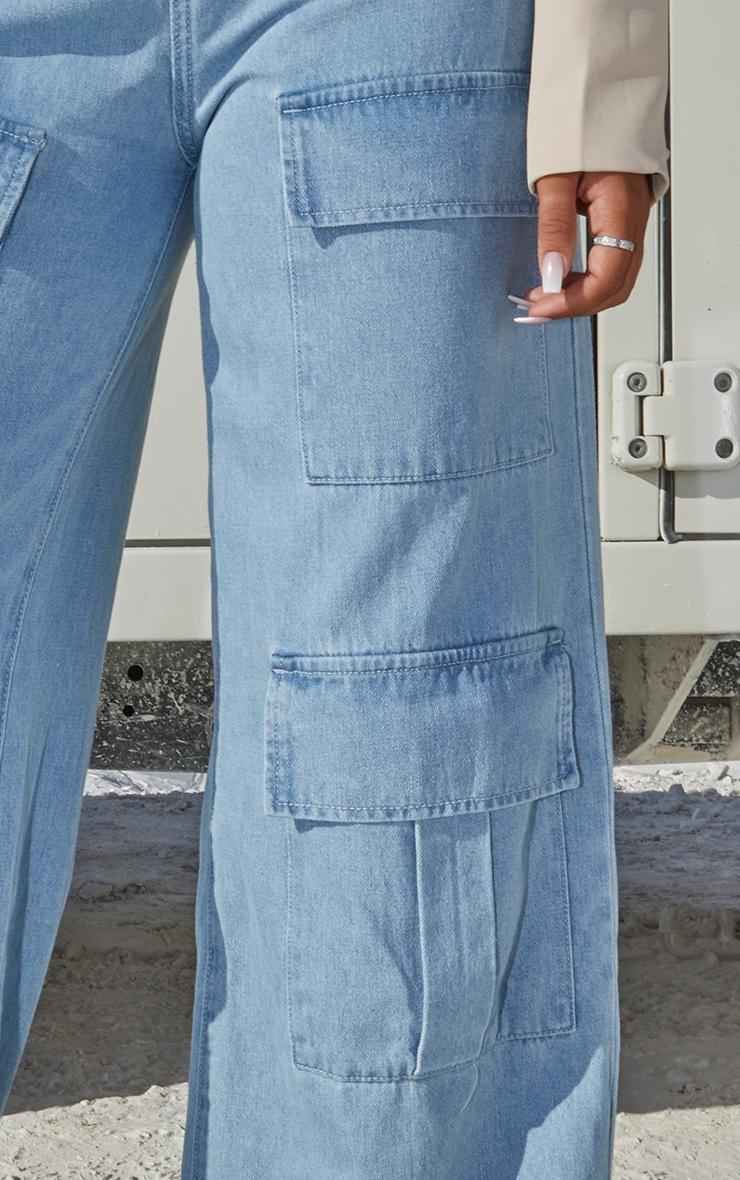 Light Blue Wash Straight Leg Denim Jeans 4