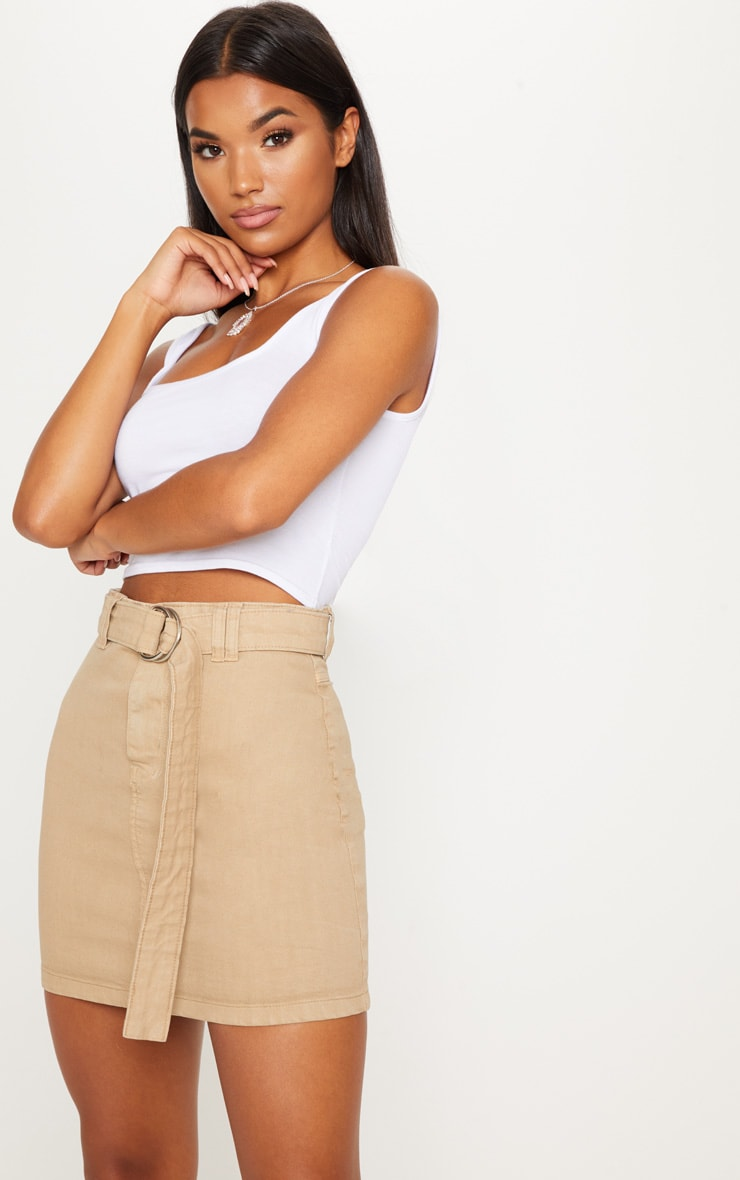 Stone O-Ring Detail Denim Mini Skirt 2