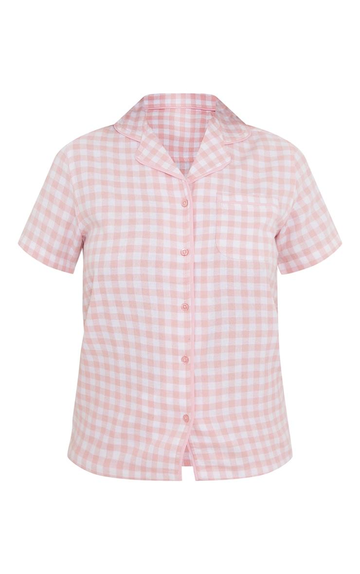 Pale Pink Mix And Match Button Up Short Sleeve Check PJ Shirt 5