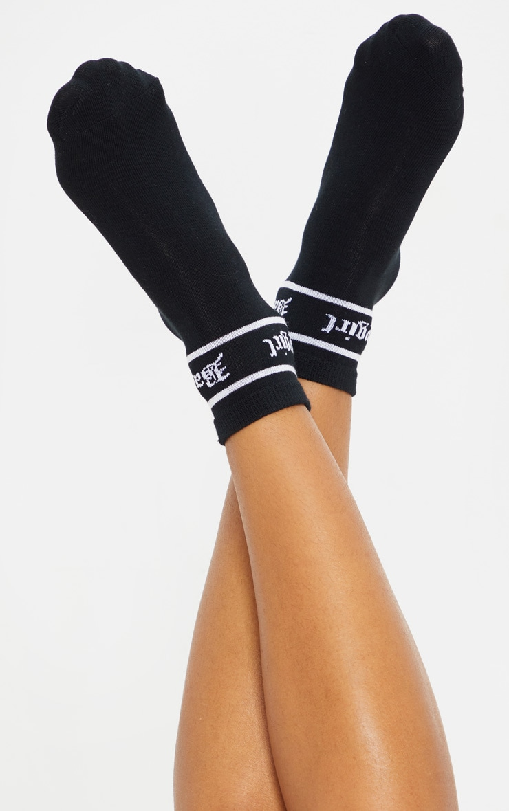 Black Baby Girl Ankle Socks 2
