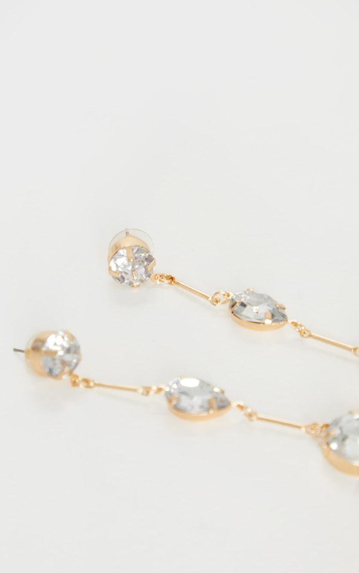 Gold 3 Crystal Drop Earrings 3