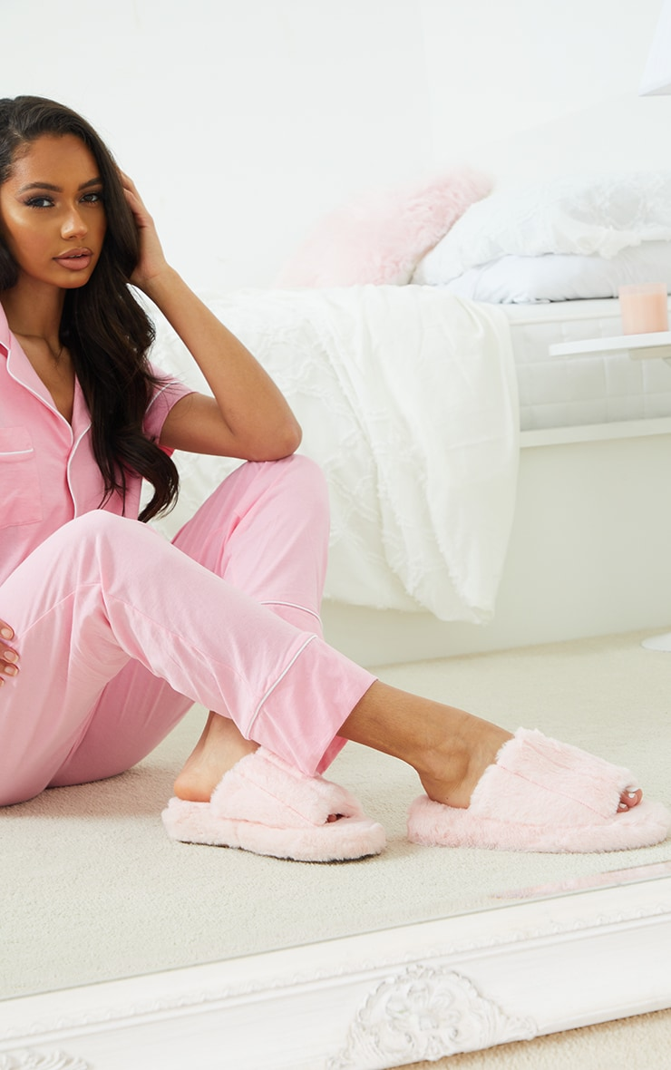 Pink Fluffy Wide Strap Slippers 1
