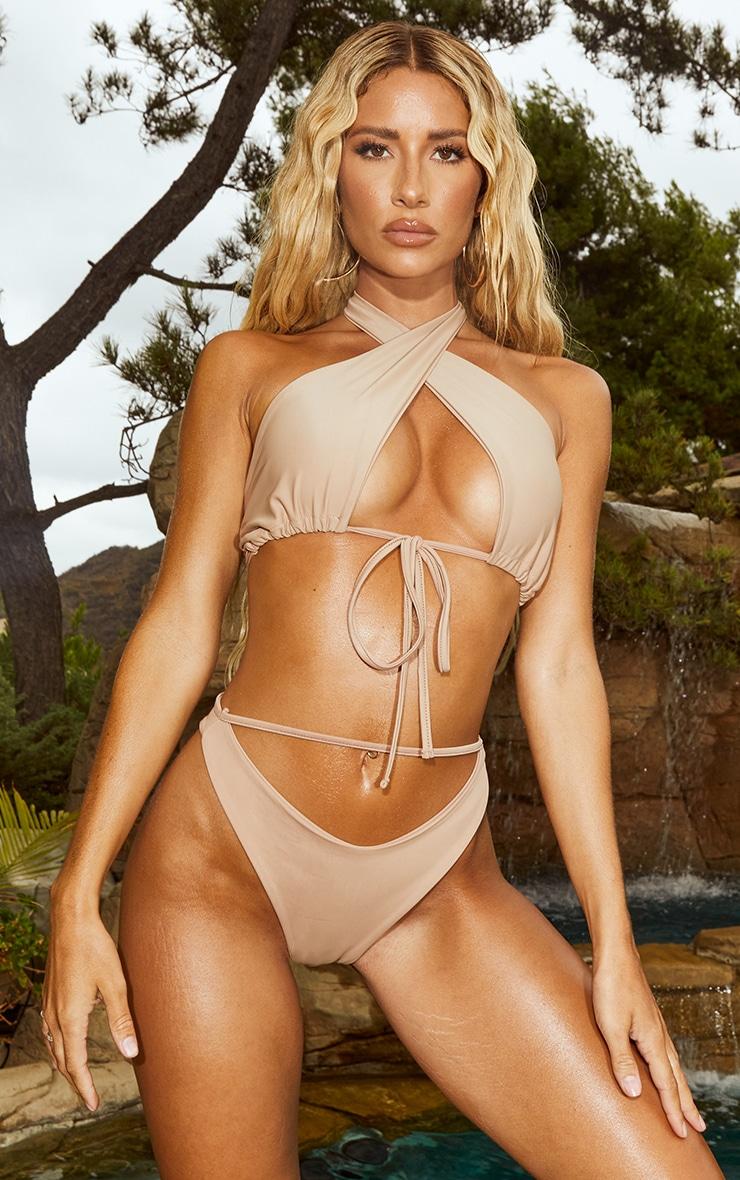 Sand Plunge Tie Front Bikini Top 1