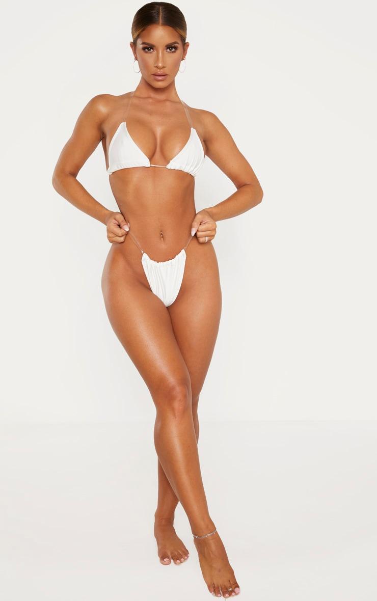 White Clear Strap Bikini Bottom 4