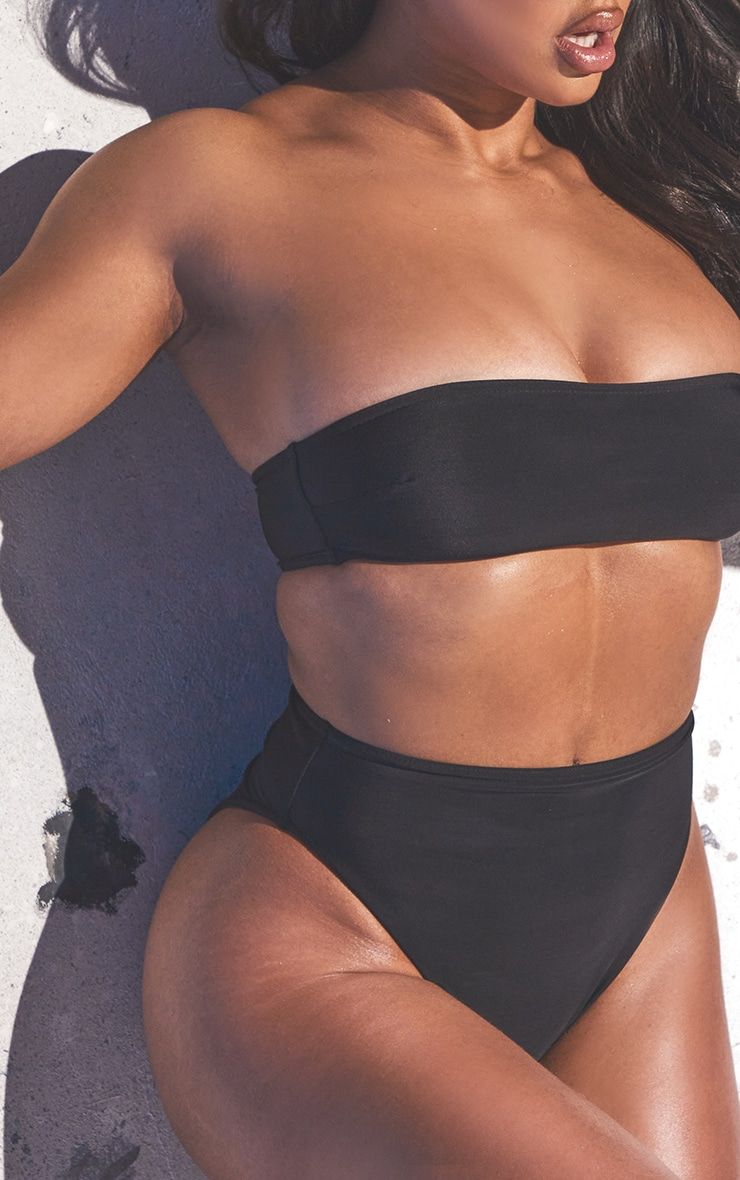 Black Recycled Fabric Bandeau Bikini Set 4