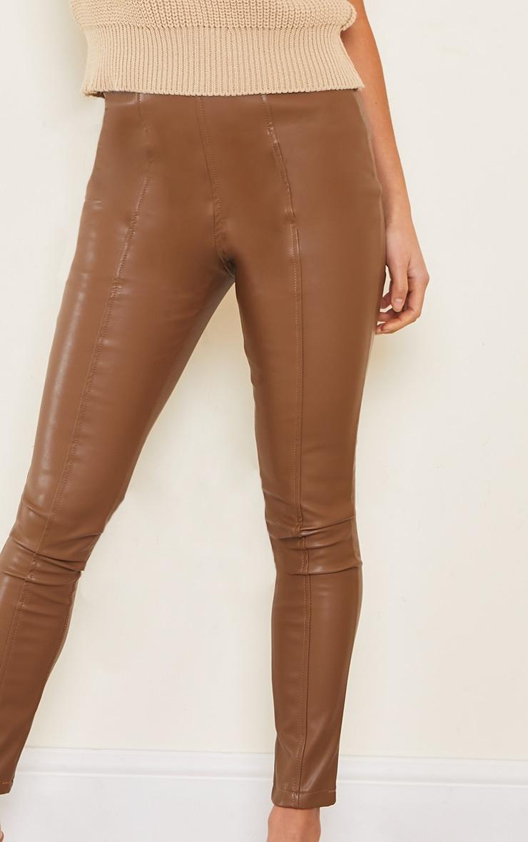 Petite Chocolate Faux Leather Stretch Leggings 4