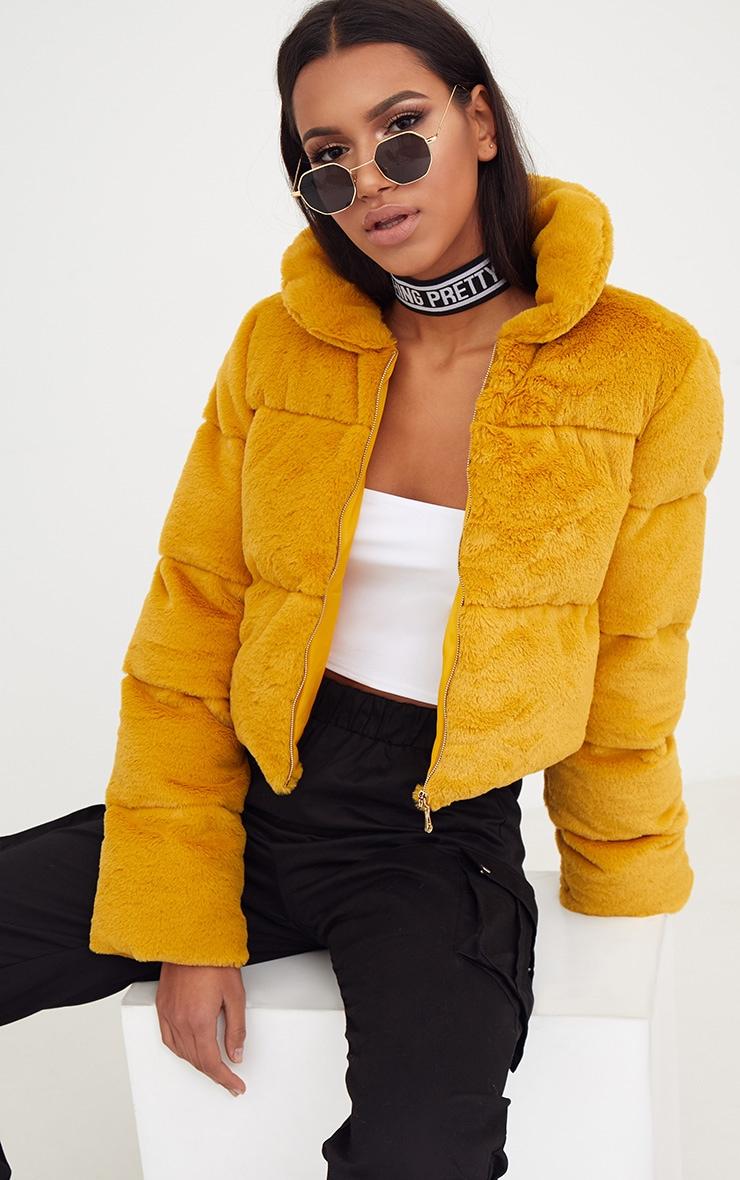 Mustard Faux Fur Puffer Jacket 1