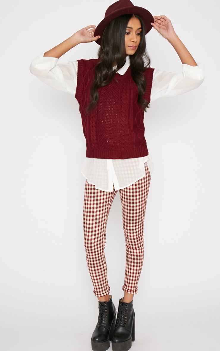 Cher Maroon Knitted Sleeveless Jumper  3