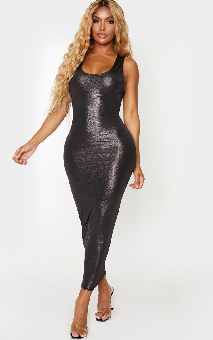 Shape - Robe longue slinky métallisée noire à encolure ronde  1