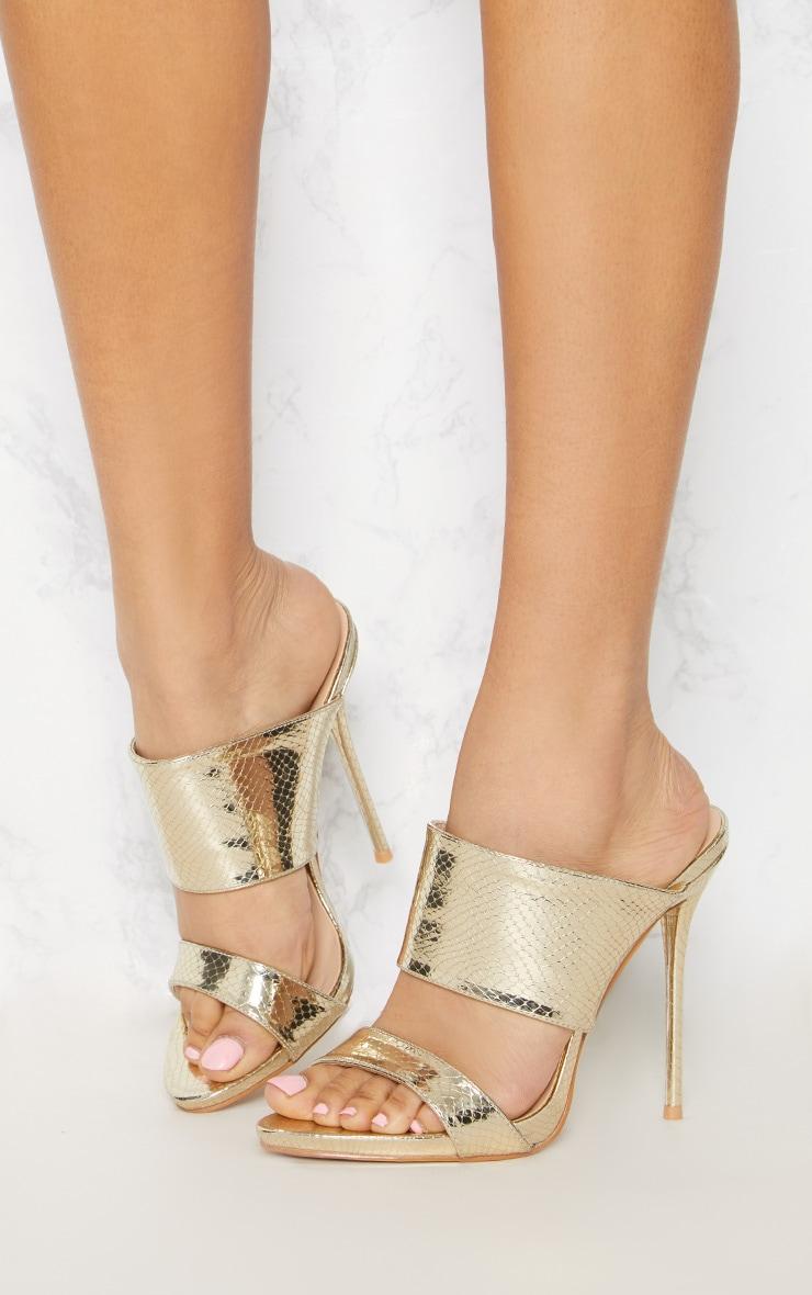 Gold Twin Strap Mule Sandal 2