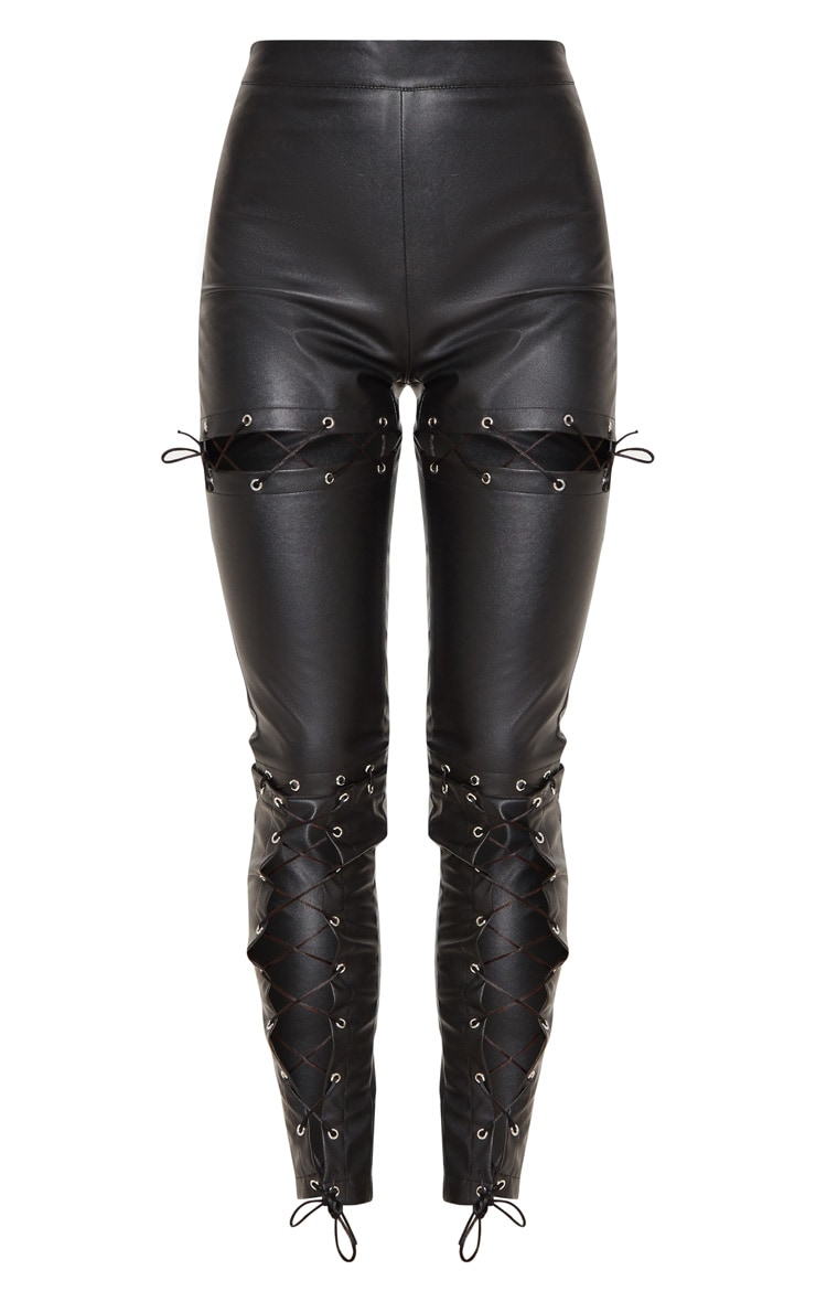 Black Faux Leather Lace Up Detail Skinny Pants 3