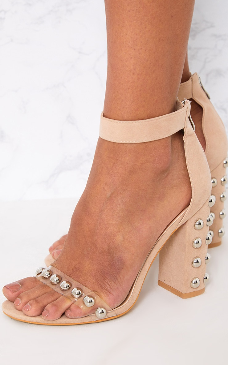 Nude Round Studded Faux Suede Block Heels 4