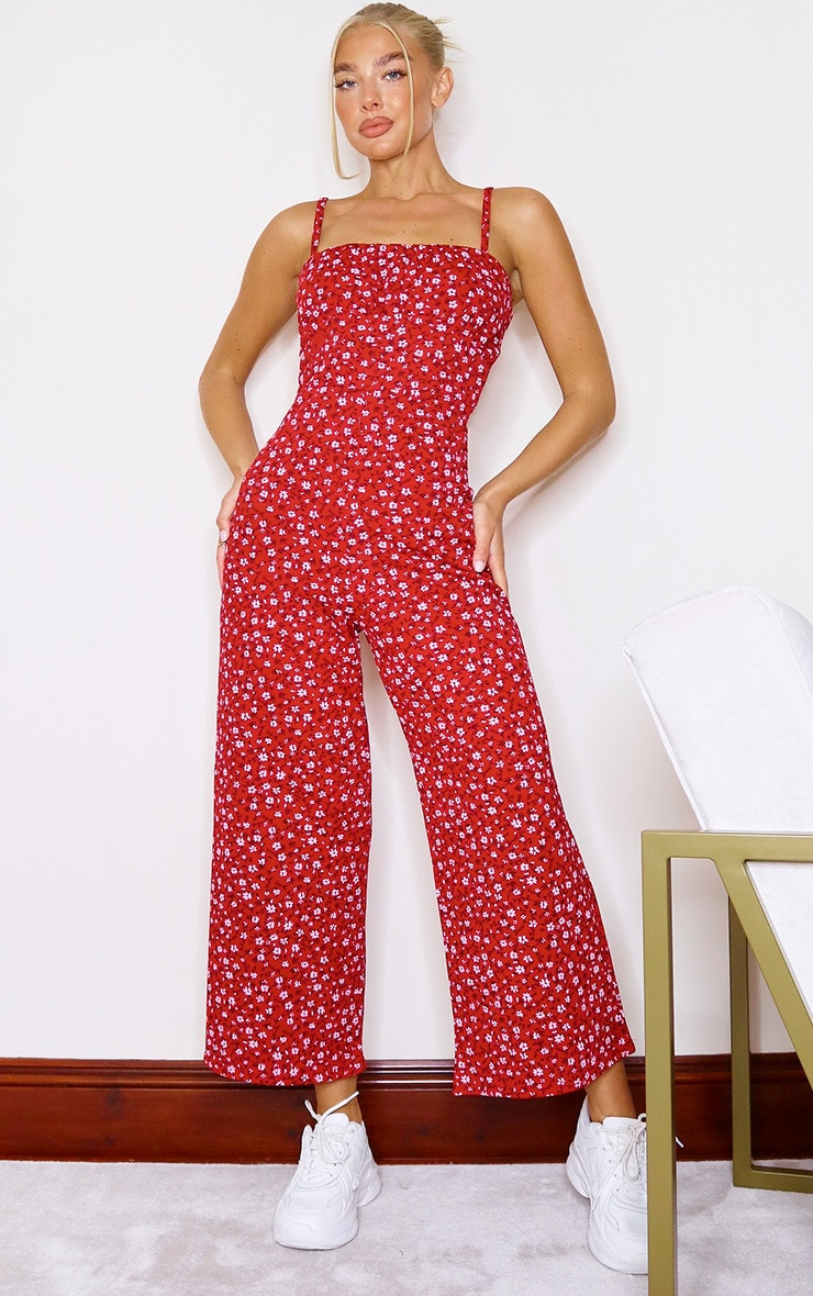 Red Ditsy Floral Ruched Bust Strappy Culotte Jumpsuit 1