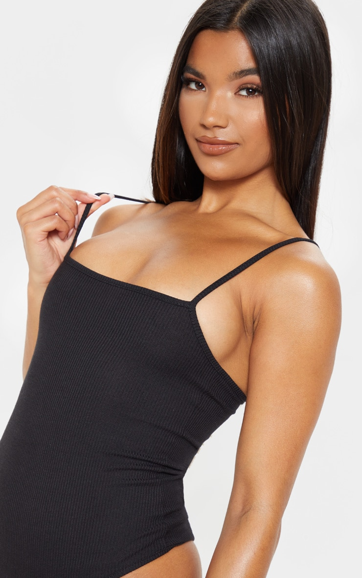 Black Ribbed Square Neck Thong Bodysuit 6