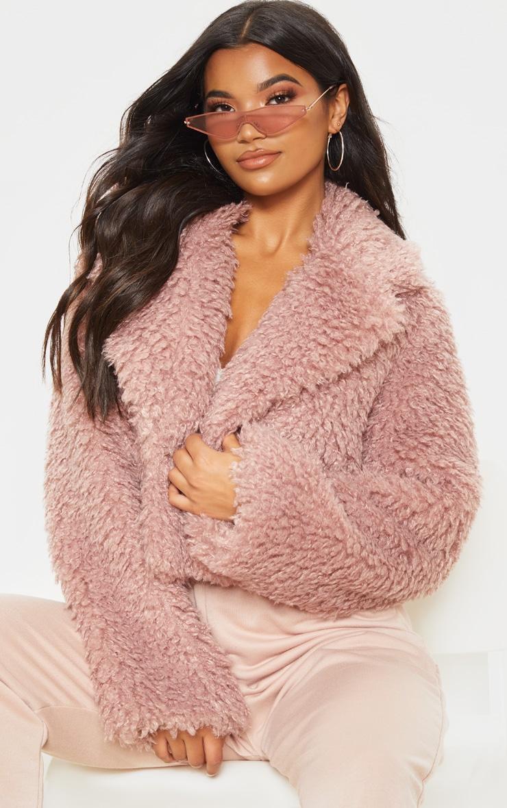 Rose Cropped Teddy Faux Fur Coat  1