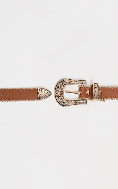 Tan Skinny Gold Double Western Belt