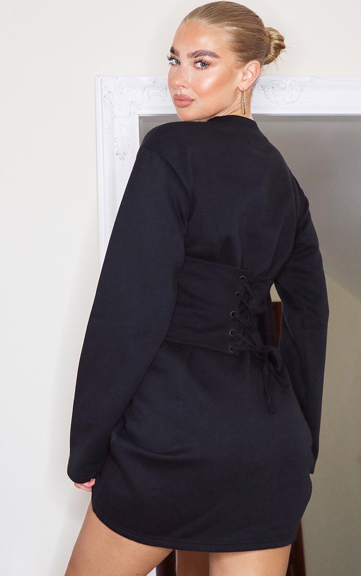Black Rib Corset Detail Sweat Jumper Dress 2