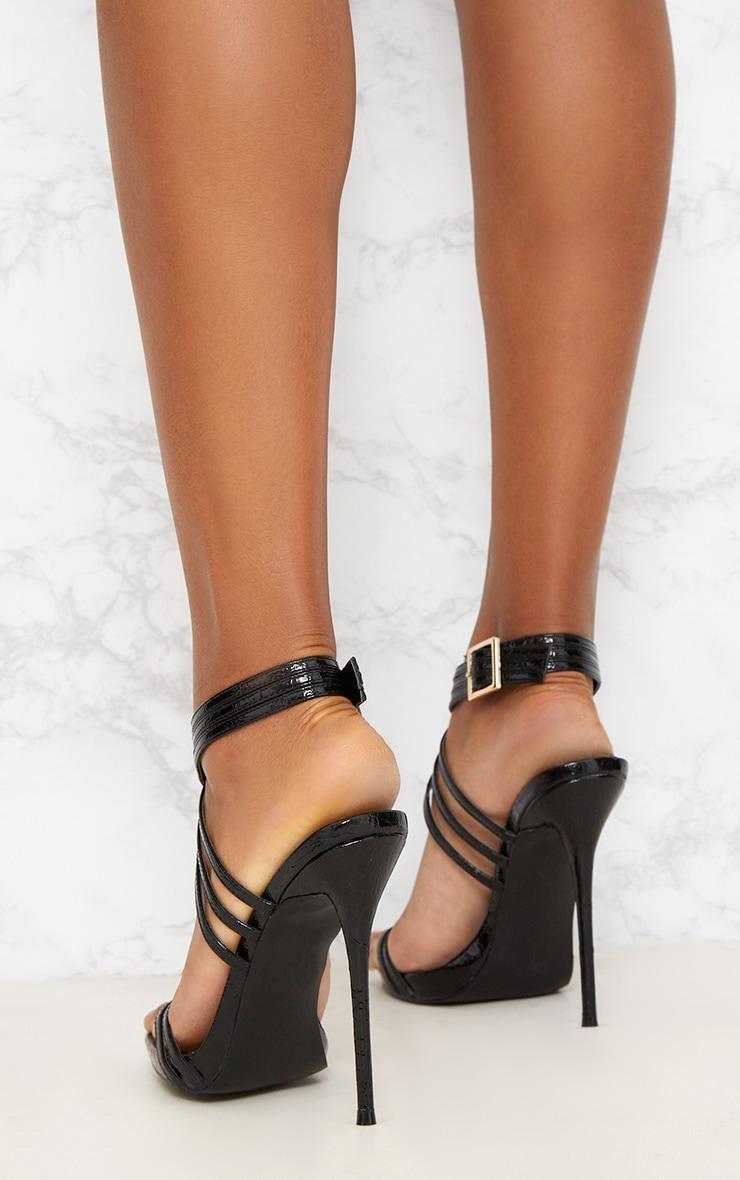 Black Multi Strap Stiletto Heels 4
