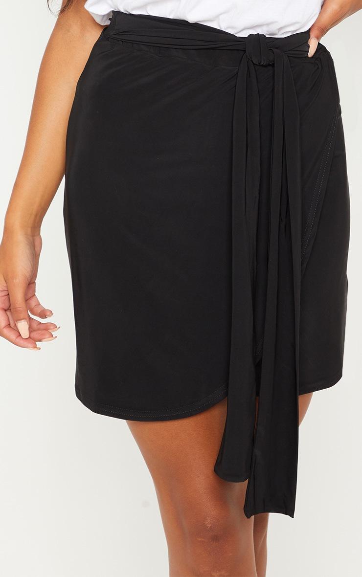 Black Slinky Tie Waist Wrap Skirt 6