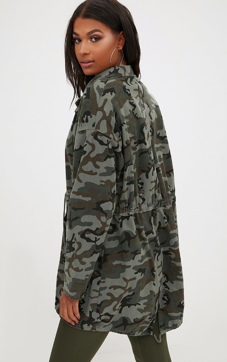 Khaki Camouflage Tie Waist Jacket 2