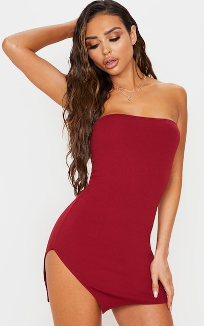 Burgundy Crepe Split Side Bandeau Bodycon Dress