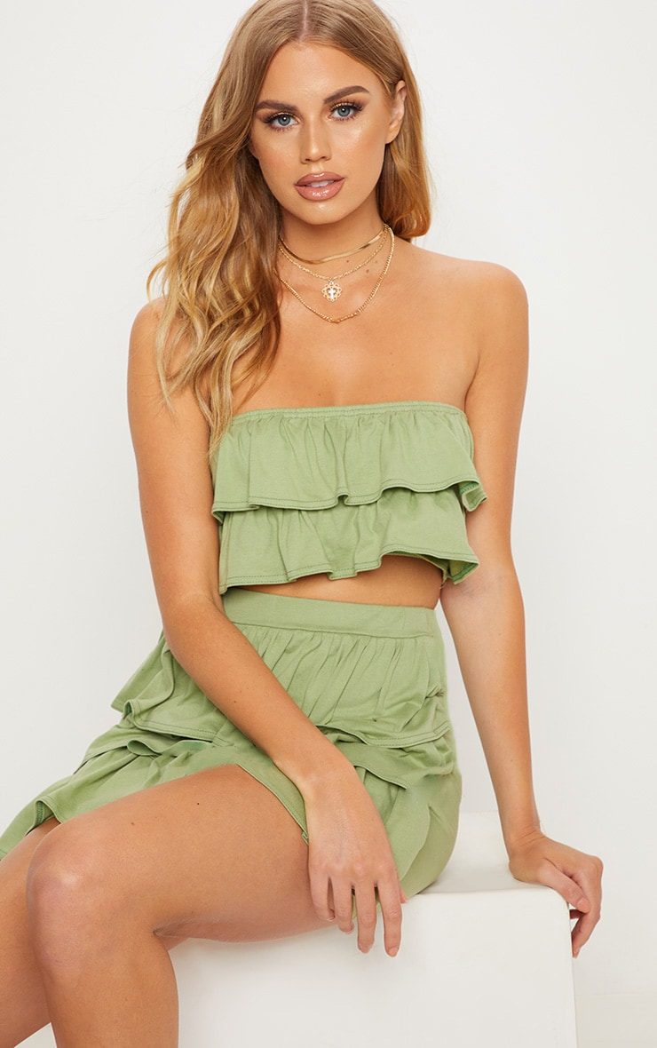 Sage Green Frill Bandeau Crop Top