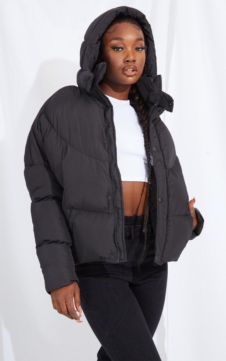 Tall Black Nylon Oversized Curved Panel Wadded Puffer Jacket 1