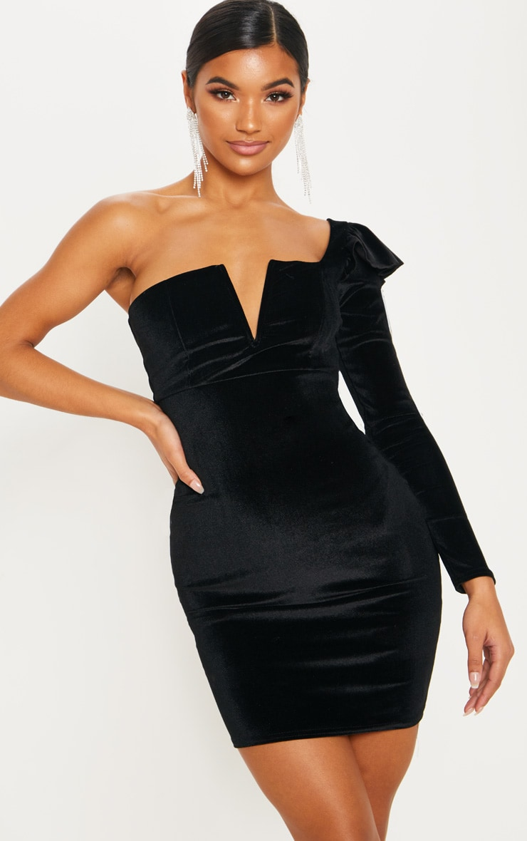Black Velvet Plunge One Shoulder Bodycon Dress 1