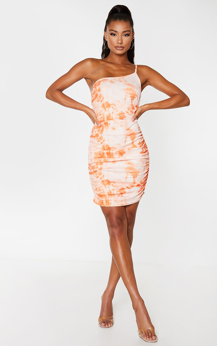 Orange Tie Dye Ribbed One Shoulder Ruched Bodycon Dress 3