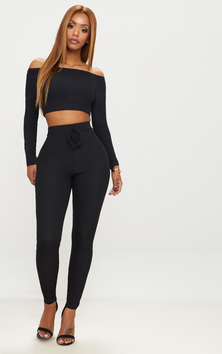 Shape Black Ribbed Bardot Long Sleeve Crop Top 4