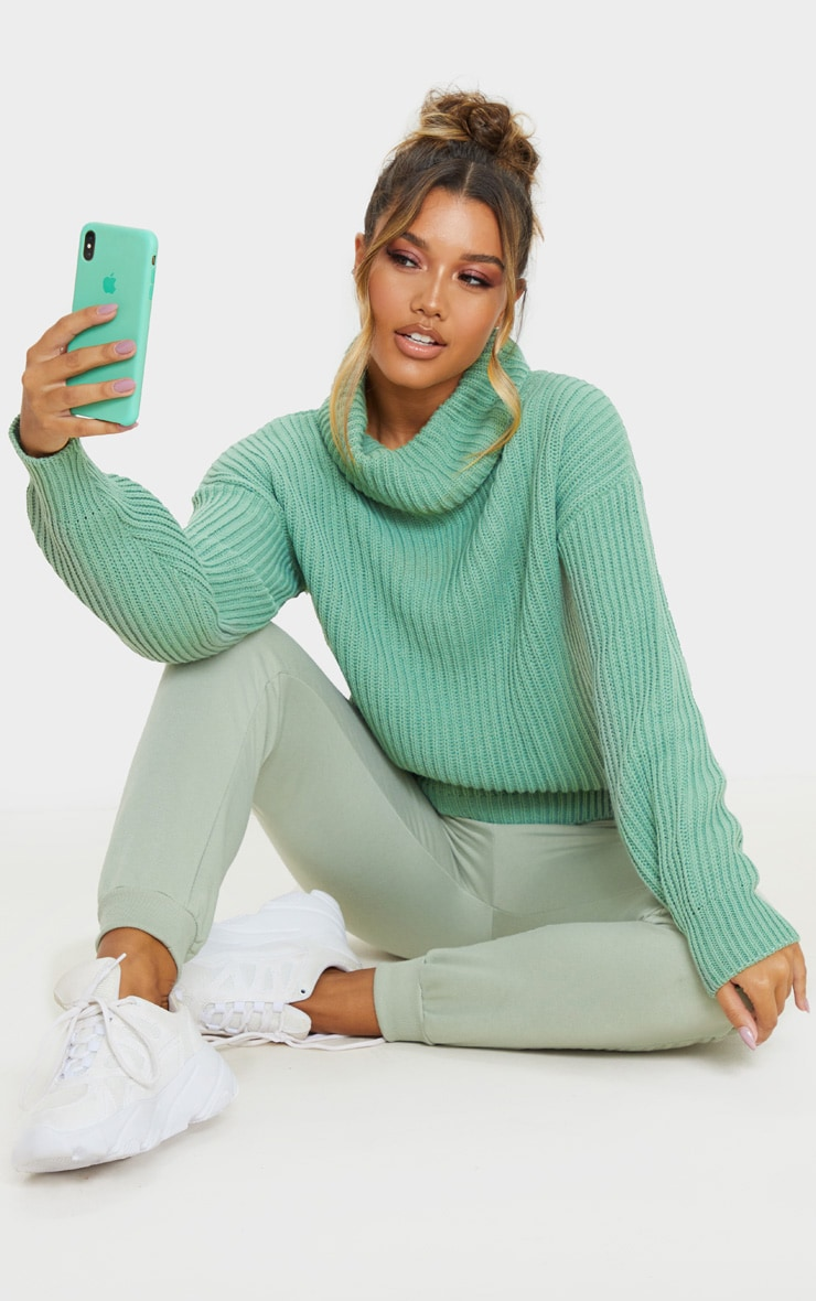 Sage Green Rib Oversized Roll Neck Jumper 4