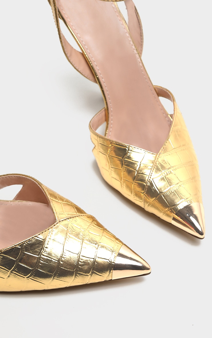 Gold Cut Out Heel Metal Toe Court Shoe 4