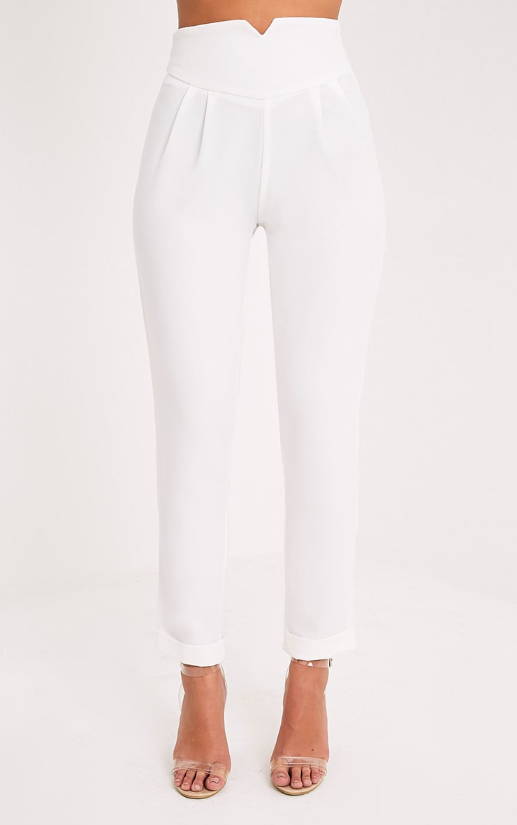Elenor White High Waisted Tapered Trousers 2