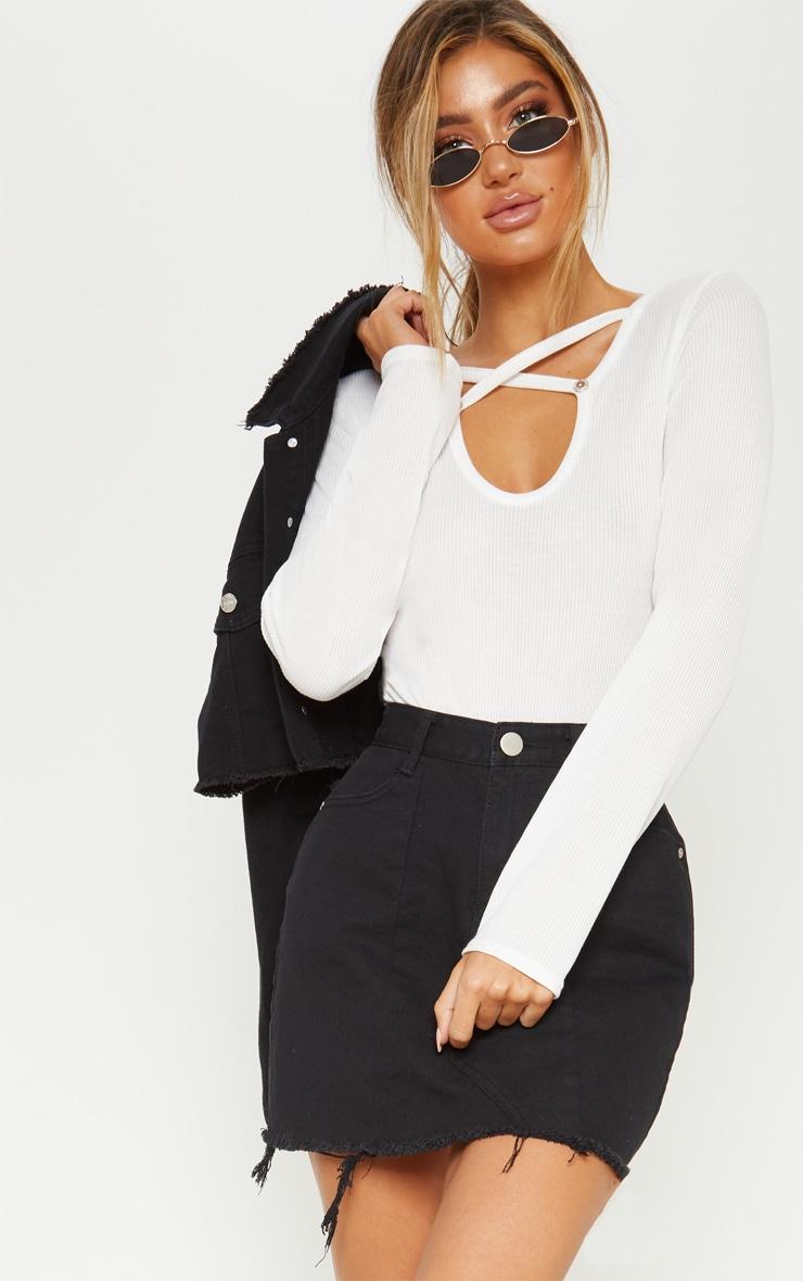 White Keyhole Wrap Front Bodysuit