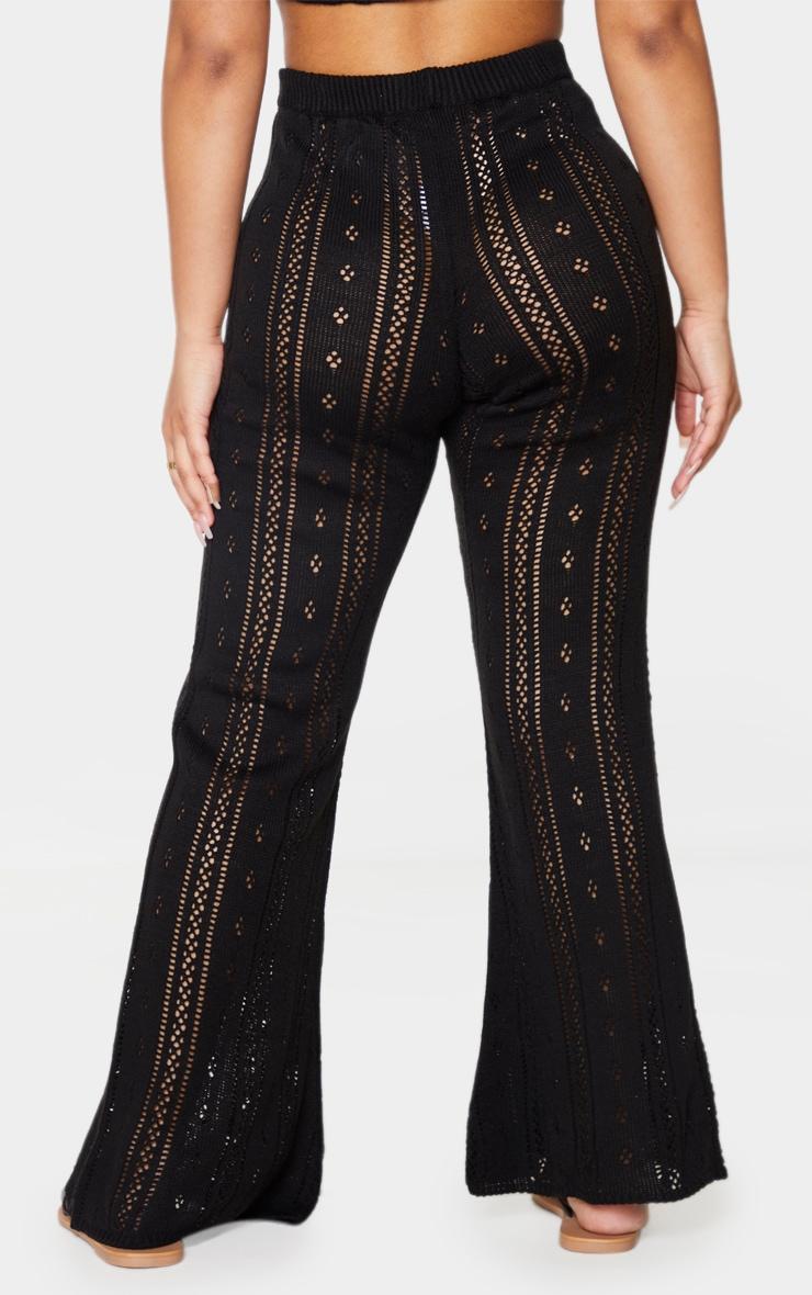 Petite Black Pointelle Knit Wide Leg Pants 3