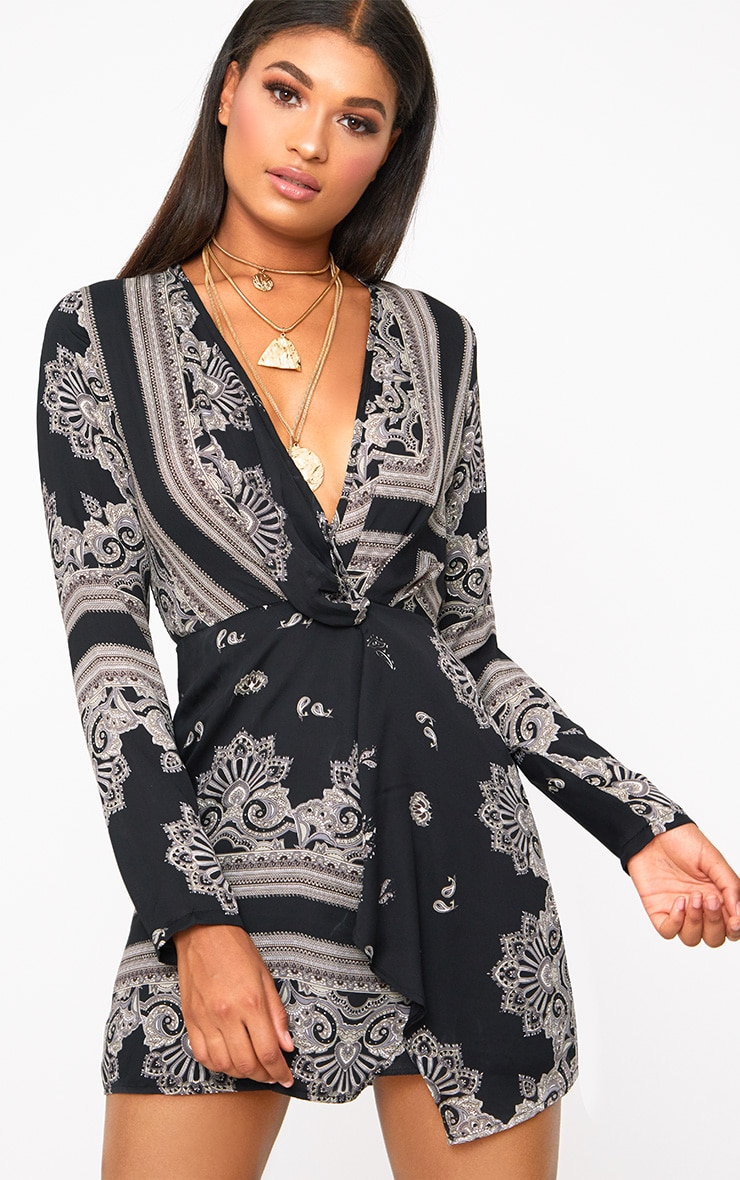 fb63dcee4fa3 Black Printed Silky Long Sleeve Wrap Dress image 1