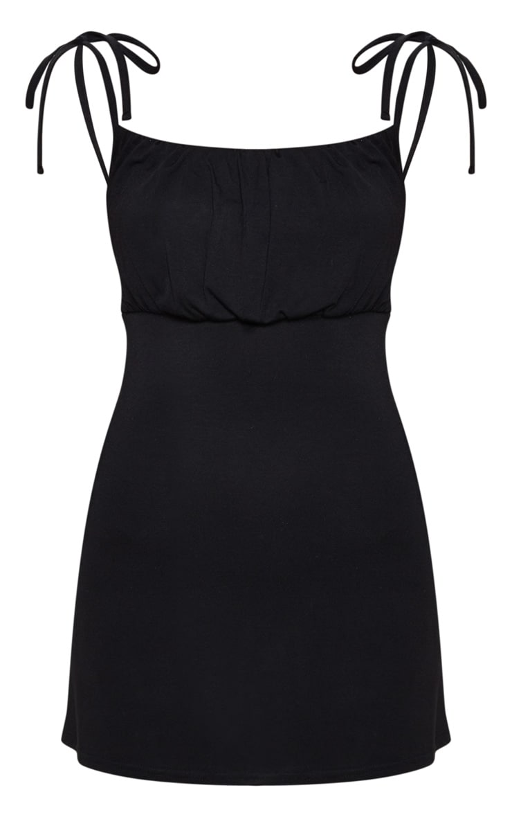 Black Ruched Bust Tie Shoulder Bodycon Dress 3