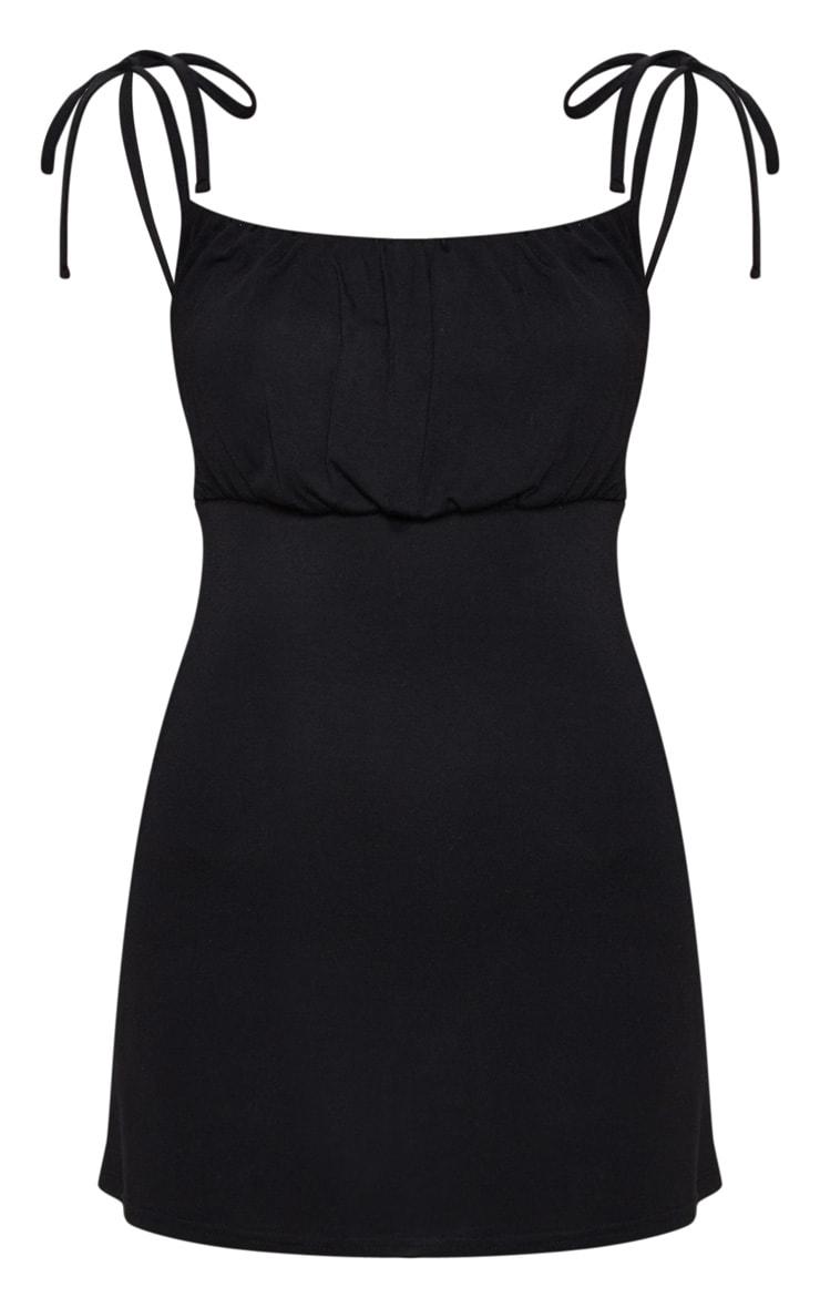 Black Ruched Bust Tie Shoulder Bodycon Dress 3