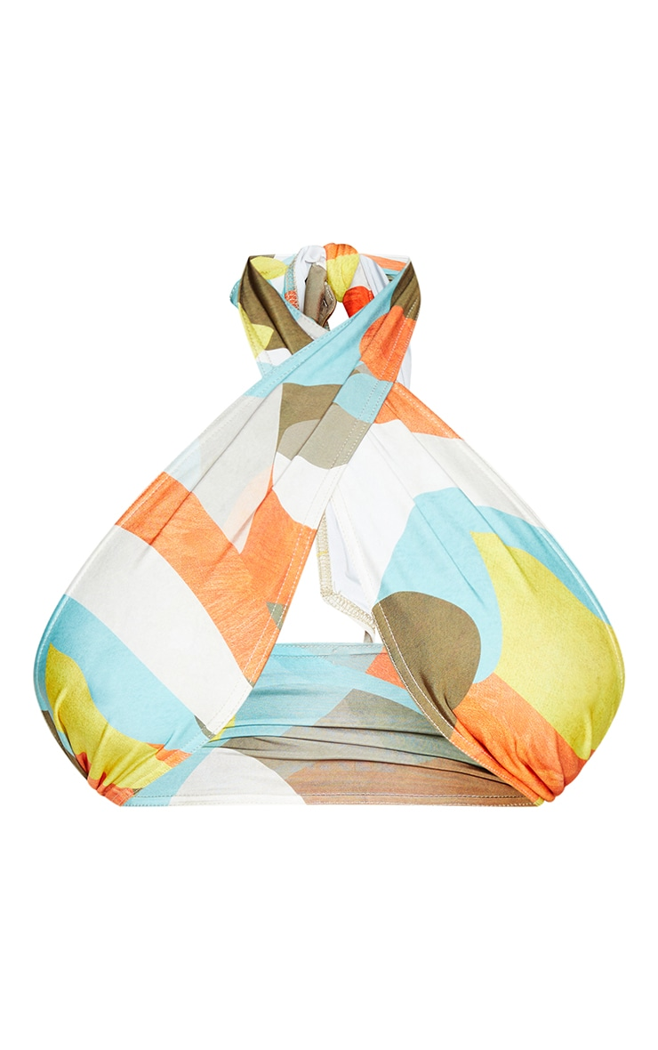 Plus Multi Abstract Print Halterneck Slinky Crop Top 5